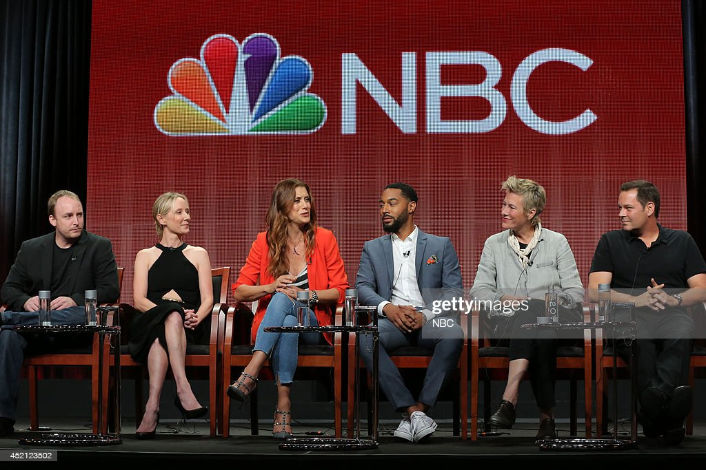EVENTS -- NBCUniversal Press Tour, July 2014 -- 'Bad Judge' Session -- Pictured: (l-r) Chad Kultgen, Executive Producer, Anne Heche, Executive Producer, Kate Walsh, Tone Bell, Liz Brixius, Executive Producer, Kevin Messick, Executive Producer --