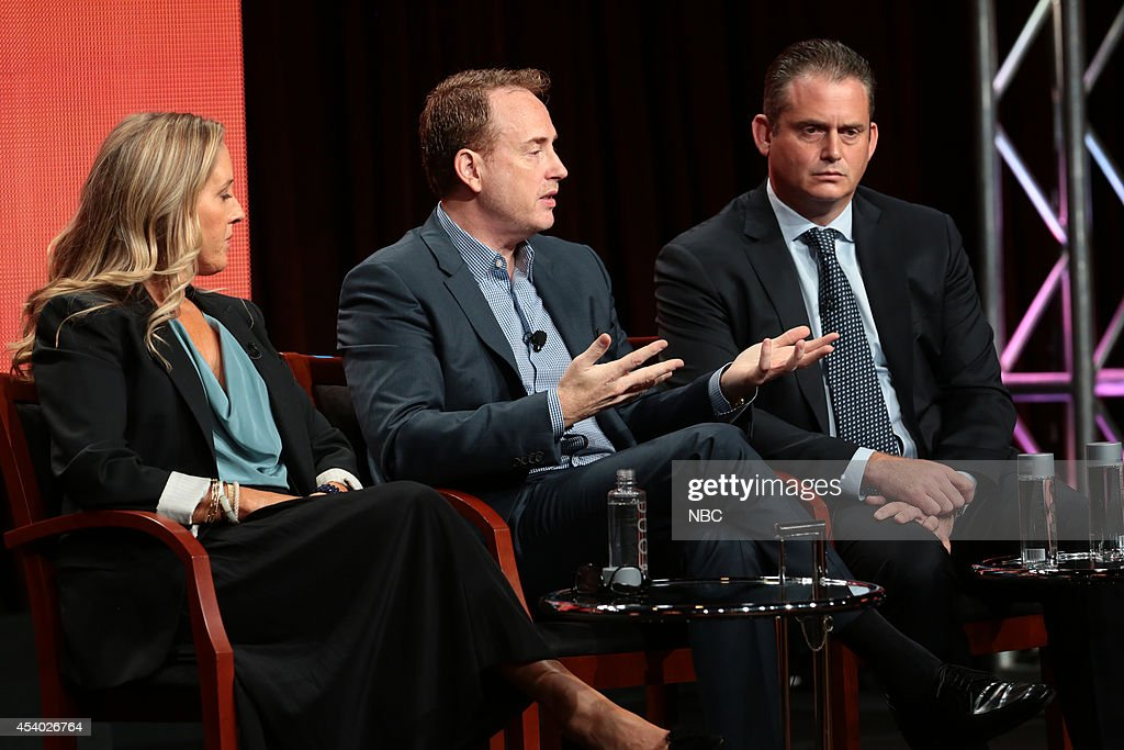 EVENTS -- NBCUniversal Press Tour, July 2014 -- 'Executive Session' -- Pictured: (l-r) Jennifer Salke, President, NBC Entertainment; Robert Greenblatt, Chairman, NBC Entertainment; Paul Telegdy, President, Alternative and Late Night Programming, NBC Entertainment --