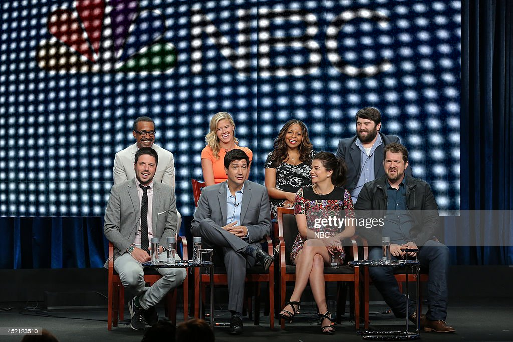 EVENTS -- NBCUniversal Press Tour, July 2014 -- 'Marry Me' Session -- Pictured: (l-r) David Caspe, Executive Producer, Tim Meadows, <a gi-track='captionPersonalityLinkClicked' href=/galleries/search?phrase=Sarah+Wright&family=editorial&specificpeople=238872 ng-click='$event.stopPropagation()'>Sarah Wright</a>, Ken Marino, Tymberlee Hill, Casey Wilson, John Gemberling, Casey Wilson, Seth Gordon, Executive Producer --