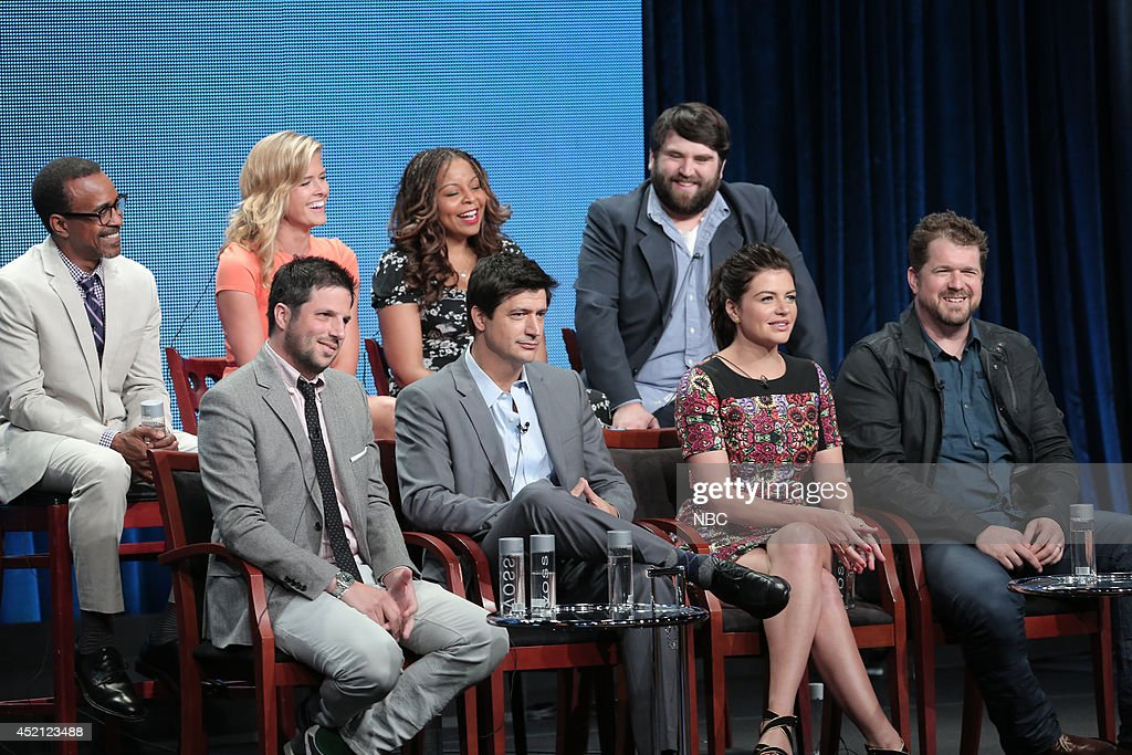 EVENTS -- NBCUniversal Press Tour, July 2014 -- 'Marry Me' Session -- Pictured: (l-r) Tim Meadows, Sarah Wright, David Caspe, Executive Producer, Tymberlee Hill, Ken Marino, John Gemberling, Casey Wilson, Seth Gordon, Executive Producer --