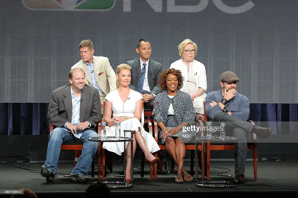 EVENTS -- NBCUniversal Press Tour, July 2014 -- 'State of Affairs' Session -- Pictured: (l-r) Bob Simonds, Executive Producer; Rodney Faraon, Executive Producer; Nancy Heigl, Executive Producer; Ed Bernero, Executive Producer; Katherine Heigl; Alfre Woodard; Joe Carnahan, Executive Producer --