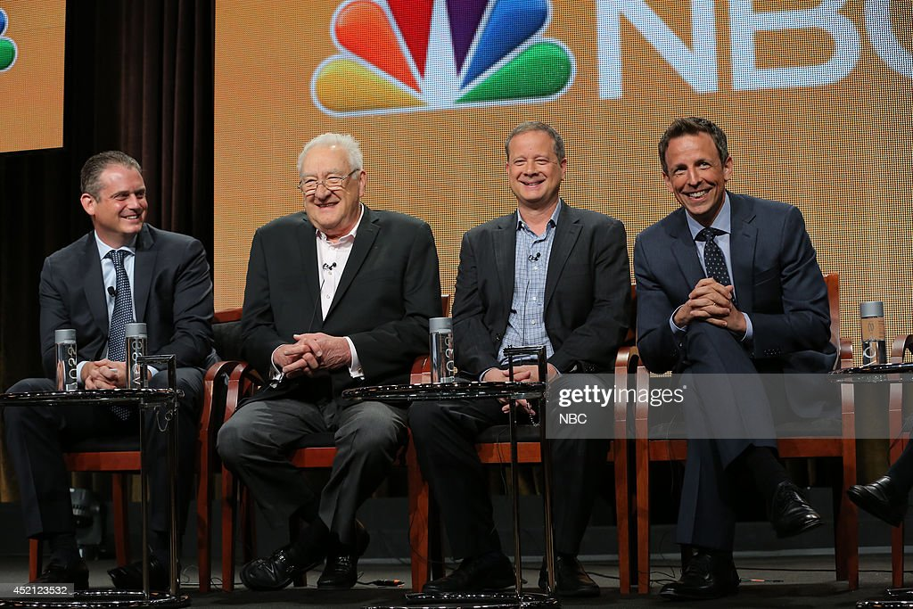EVENTS -- NBCUniversal Press Tour, July 2014 -- 'The 66th Primetime Emmy Awards' Session -- Pictured: (l-r) Paul Telegdy, President, Alternative and Late Night Programming, NBC Entertainment; Don Mischer, Executive Producer; Mike Shoemaker, Writer; Seth Meyers, Host --