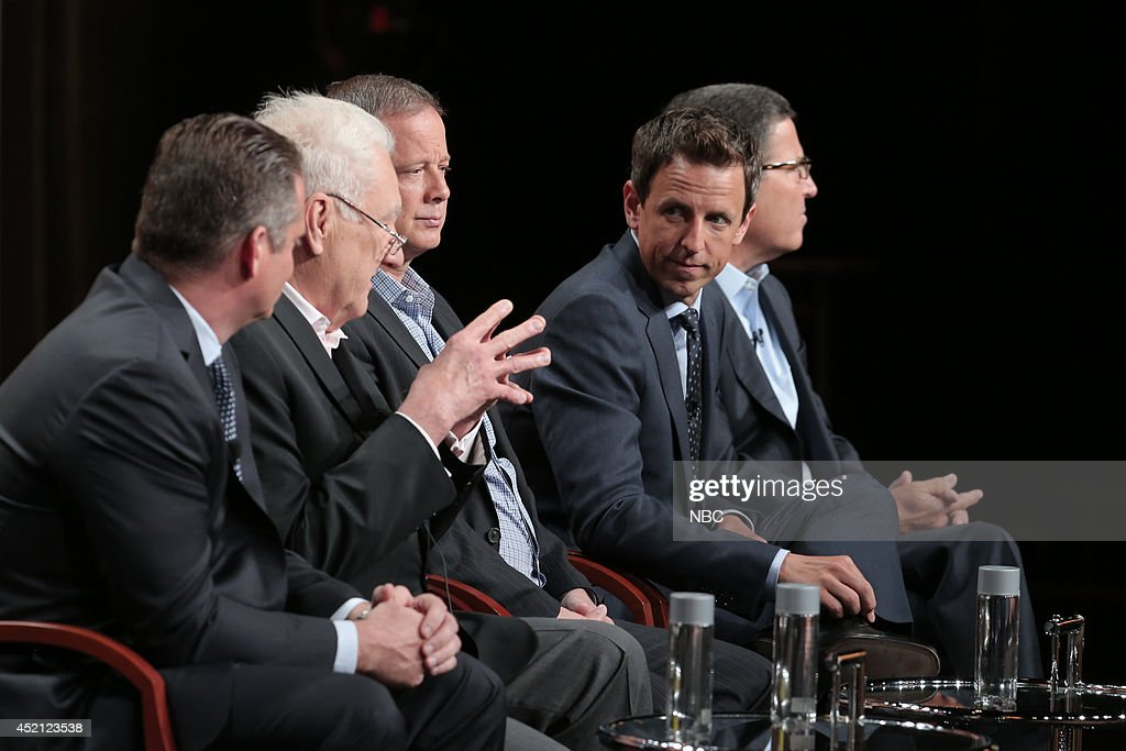 EVENTS -- NBCUniversal Press Tour, July 2014 -- 'The 66th Primetime Emmy Awards' Session -- Pictured: (l-r) Paul Telegdy, President, Alternative and Late Night Programming, NBC Entertainment; Don Mischer, Executive Producer; Mike Shoemaker, Writer; Seth Meyers, Host; Bruce Rosenblum, Chairman / CEO, Television Academy --