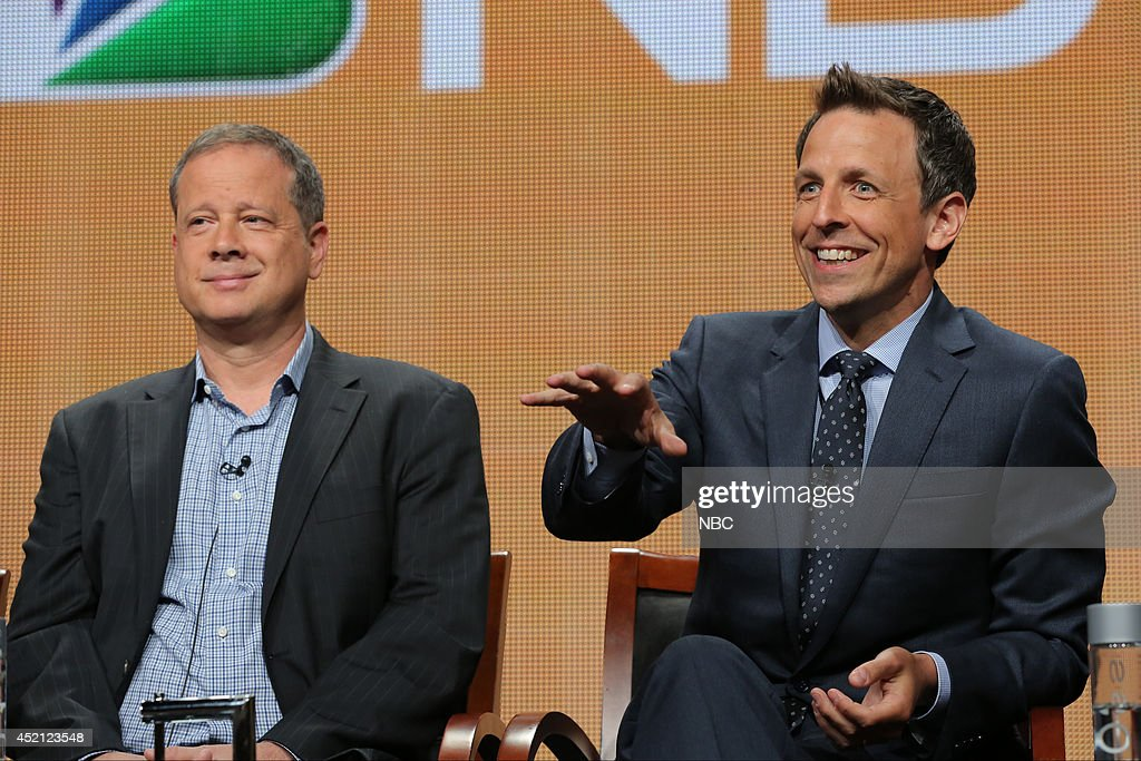 EVENTS -- NBCUniversal Press Tour, July 2014 -- 'The 66th Primetime Emmy Awards' Session -- Pictured: (l-r) Mike Shoemaker, Writer; Seth Meyers, Host --