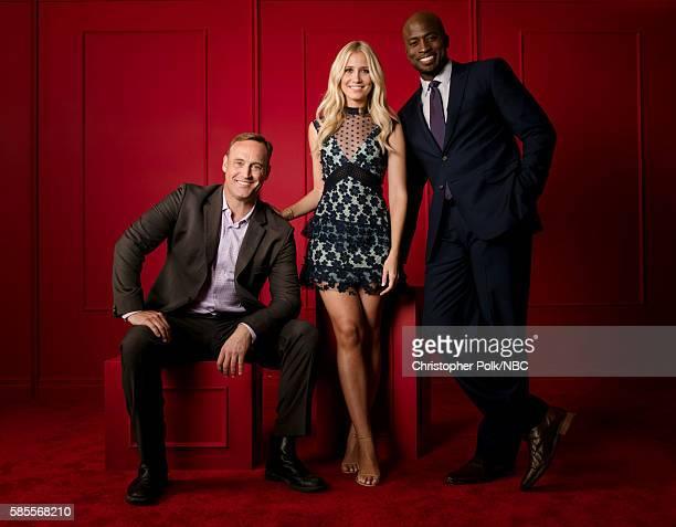 EVENTS NBCUniversal Press Tour Portraits AUGUST 02 2016 TV personalities Matt Iseman Kristine Leahy and Akbar Gbajabiamila of 'American Ninja...
