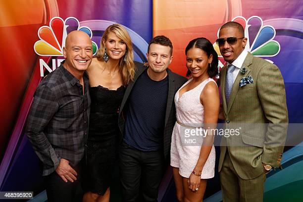 EVENTS NBCUniversal Summer Press Day April 2015 'America's Got Talent' Pictured Howie Mandel Judge Heidi Klum Judge Mat Franco Winner Season 9...