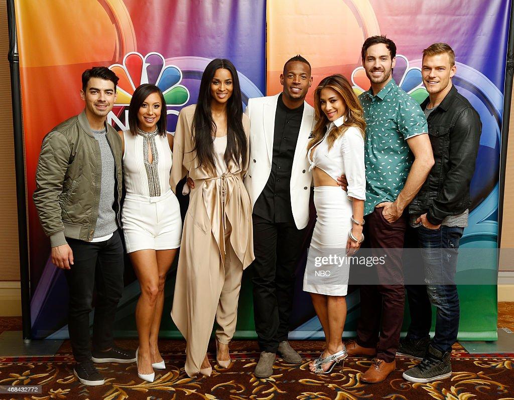 EVENTS NBCUniversal Summer Press Day April 2015 'I Can Do That' Pictured Joe Jonas Cheryl Burke Ciara Marlon Wayans Host Nicole Scherzinger Jeff Dye...