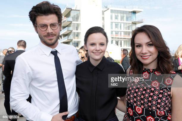 NBCUniversal Summer Press Day Cocktail Reception Pictured Francois Arnaud Sarah Ramos NBC's 'Midnight Texas' Tracey Wigfield NBC's 'Great News'