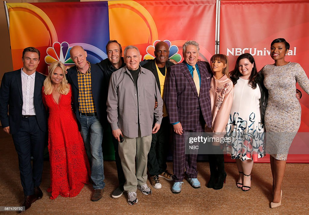 EVENTS -- NBCUniversal Summer Press Tour, August 2, 2016 -- NBC's 'Hairspray Live!' cast -- Pictured: (l-r) Derek Hough, Kristin Chenoweth, Neil Meron, Executive Producer; Alex Rudzinski, Live Television Director; Craig Zadan, Executive Producer; Kenny Leon, Director; Harvey Fierstein, Ariana Grande, Maddie Baillio, Jennifer Hudson --