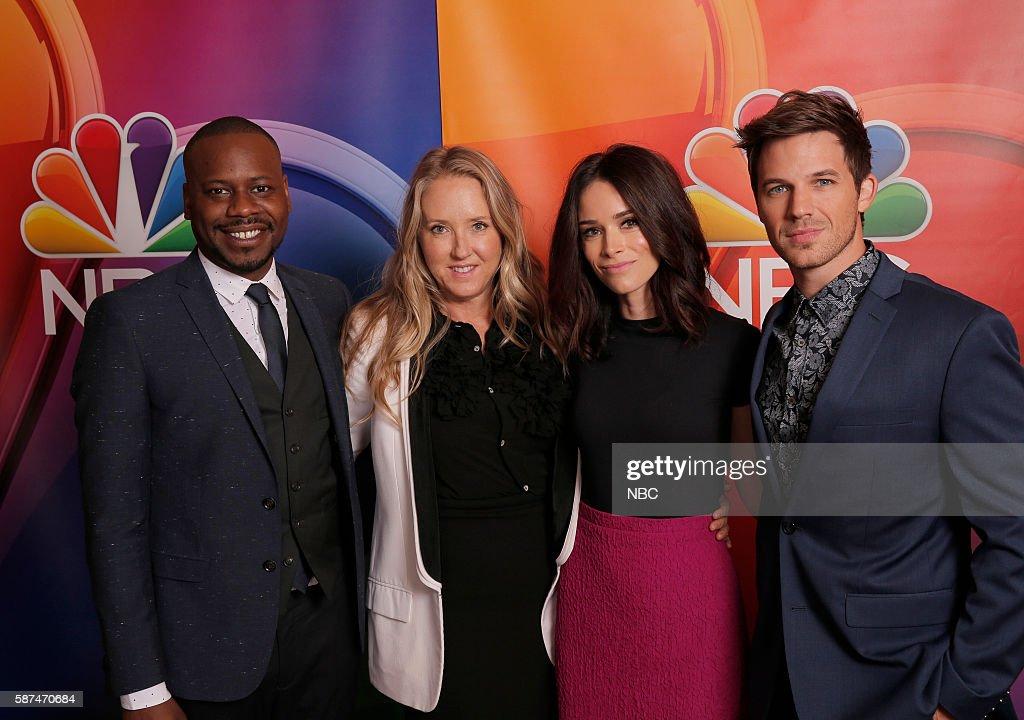 EVENTS -- NBCUniversal Summer Press Tour, August 2, 2016 -- NBC's 'Timeless' cast -- Pictured: (l-r) Malcolm Barrett, Jennifer Salke, President, NBC Entertainment; Abigail Spencer, Matt Lanter --