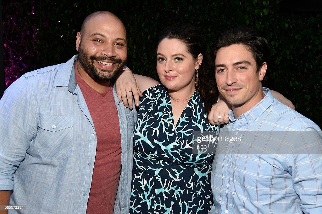 EVENTS NBCUniversal Summer Press Tour August 2 2016 Party at BOA Steakhouse Pictured Colton Dunn Lauren Ash Ben Feldman 'Superstore'