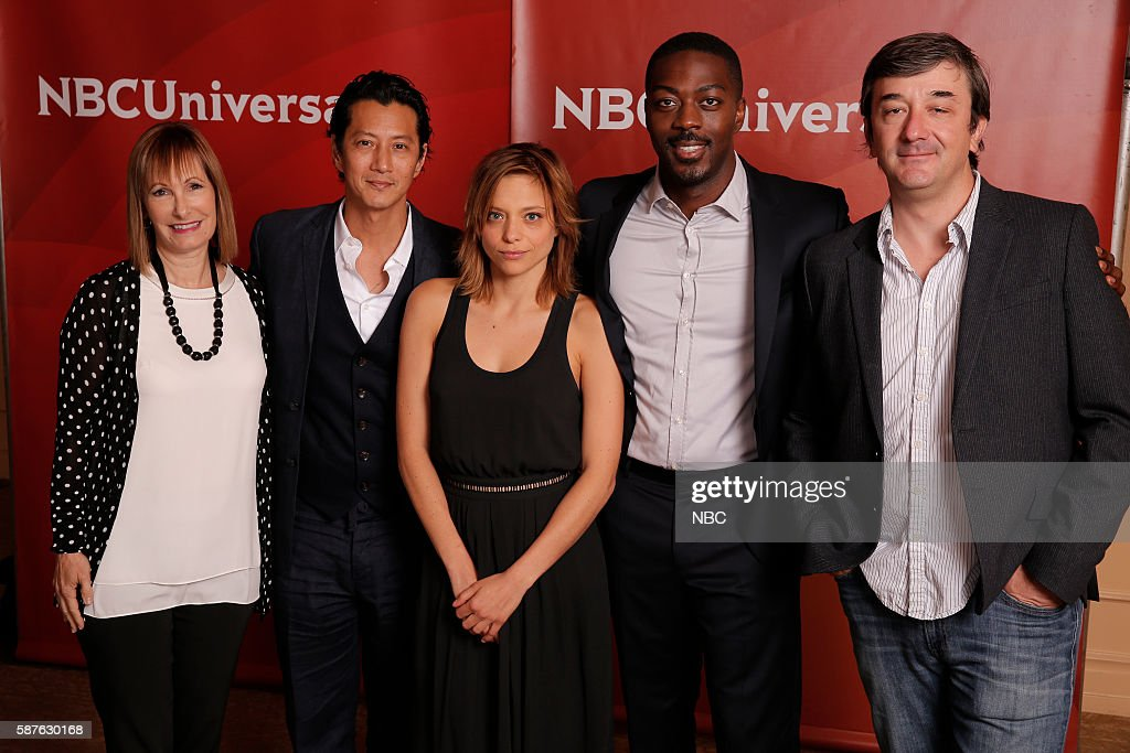 EVENTS -- NBCUniversal Summer Press Tour, August 3, 2016 -- USA's, 'Falling Water' cast -- Pictured: (l-r) Gale Anne Hurd, Executive Producer; Will Yun Lee, Lizzie Brochere, David Ajala, Blake Masters, Executive Producer --