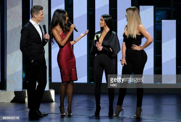 NBCUniversal Upfront in New York City on Monday May 15 2017 Pictured Jason Kennedy Zuri Hall 'E News' and Kim Kardashian West Khloé Kardashian...