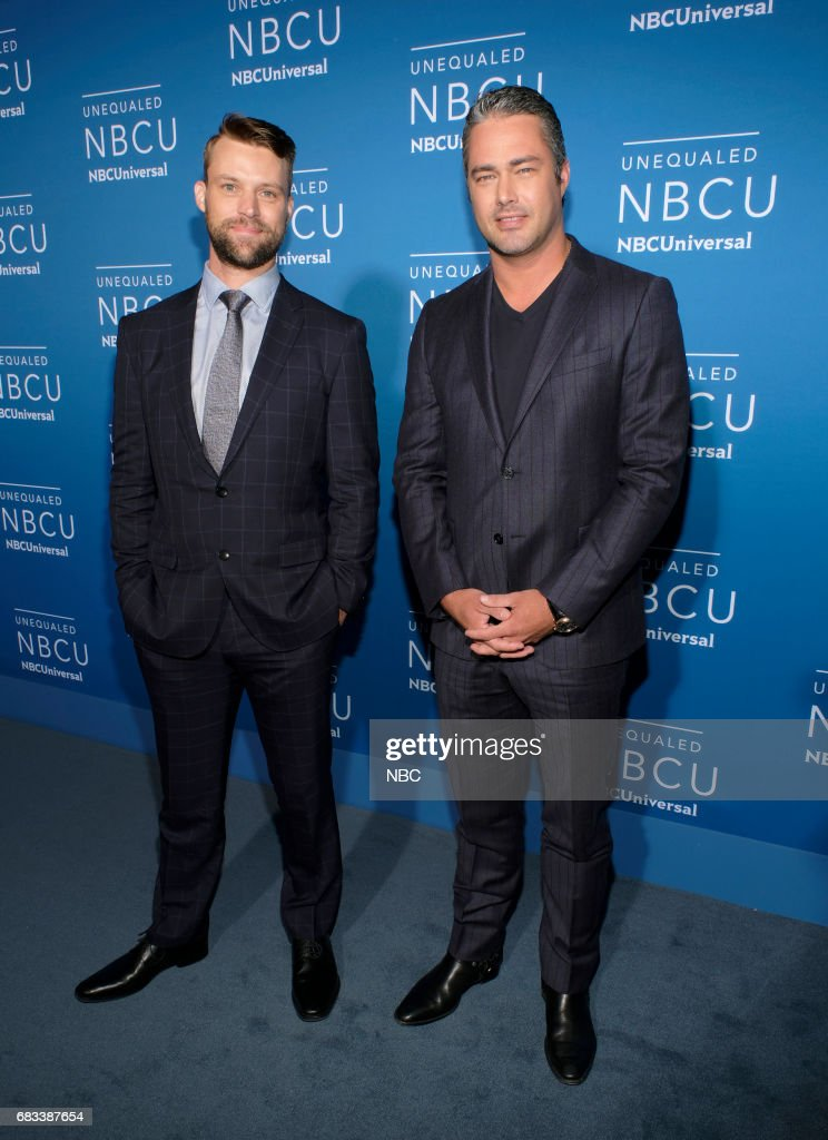 NBCUniversal Upfront in New York City on Monday, May 15, 2017 -- Red Carpet -- Pictured: (l-r) Jesse Spencer, Taylor Kinney, 'Chicago Fire' on NBC --