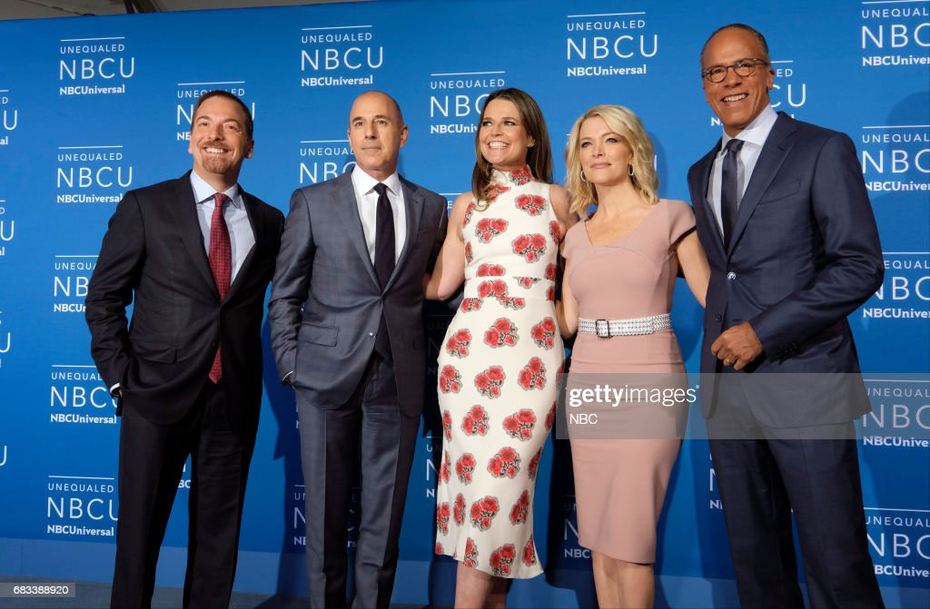 NBCUniversal Upfront in New York City on Monday, May 15, 2017 -- Red Carpet -- Pictured: (l-r) Chuck Todd, 'Meet the Press' on NBC; Matt Lauer, Savannah Guthrie, Megyn Kelly, Lester Holt, 'TODAY' on NBC --
