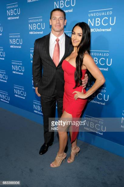 NBCUniversal Upfront in New York City on Monday May 15 2017 Red Carpet Pictured John Cena Nikki Bella 'WWE' on USA Network