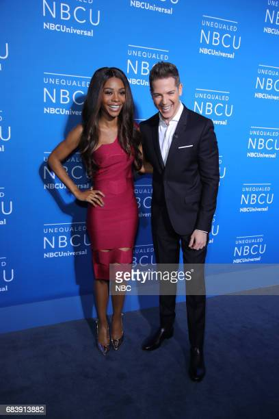 NBCUniversal Upfront in New York City on Monday May 15 2017 Red Carpet Pictured Zuri Hall Jason Kennedy 'E News' on E