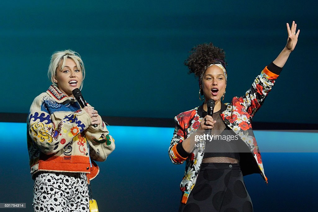 UPFRONT '2016 NBCUniversal Upfront in New York City on Monday May 16 2016' Pictured Miley Cyrus Alicia Keys 'The Voice' on NBC