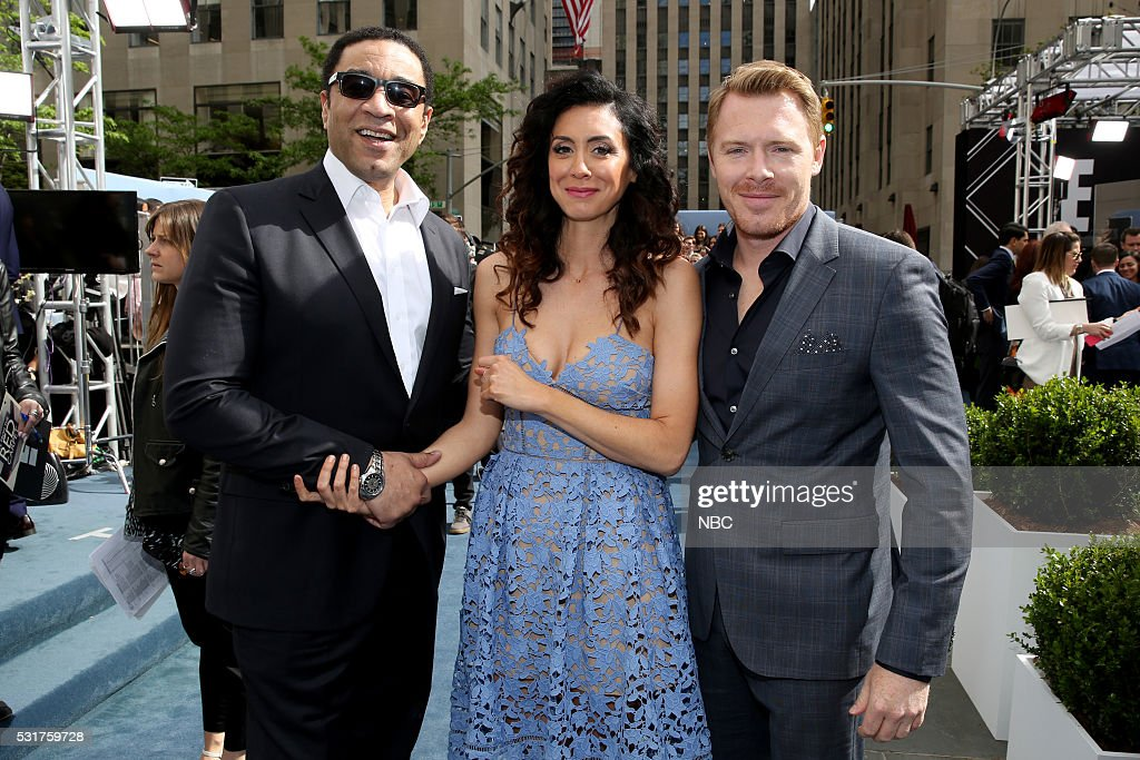 UPFRONT -- '2016 NBCUniversal Upfront in New York City on Monday, May 16, 2016' -- Pictured: (l-r) Harry Lennix, Mozhan Marno, and Diego Klattenhof, 'The Blacklist' on NBC --