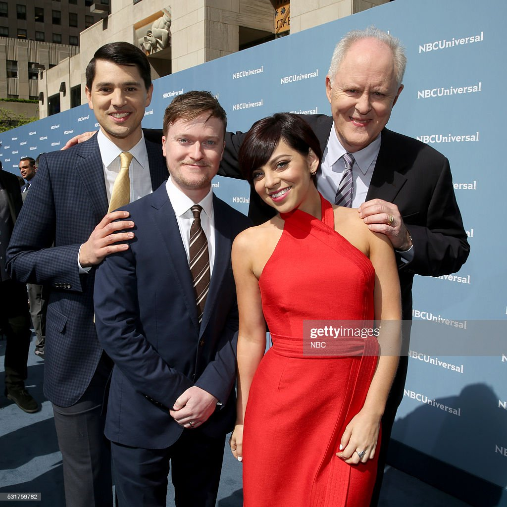 UPFRONT -- '2016 NBCUniversal Upfront in New York City on Monday, May 16, 2016' -- Pictured: (l-r) Nick D'Agosto, <a gi-track='captionPersonalityLinkClicked' href=/galleries/search?phrase=Steven+Boyer&family=editorial&specificpeople=9426424 ng-click='$event.stopPropagation()'>Steven Boyer</a>, <a gi-track='captionPersonalityLinkClicked' href=/galleries/search?phrase=Krysta+Rodriguez&family=editorial&specificpeople=5356530 ng-click='$event.stopPropagation()'>Krysta Rodriguez</a>, and <a gi-track='captionPersonalityLinkClicked' href=/galleries/search?phrase=John+Lithgow&family=editorial&specificpeople=202537 ng-click='$event.stopPropagation()'>John Lithgow</a>, 'Trial & Error' on NBC --