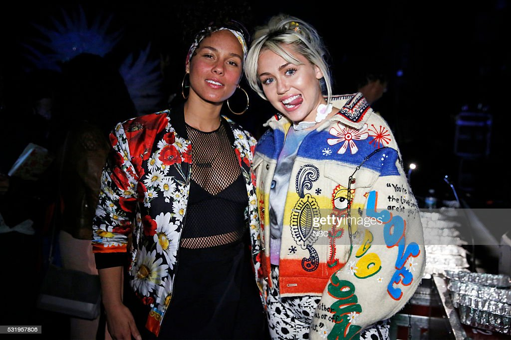 UPFRONT -- '2016 NBCUniversal Upfront in New York City on Monday, May 16, 2016' -- Pictured: (l-r) Alicia Keys, Miley Cyrus, ?The Voice? on NBC --