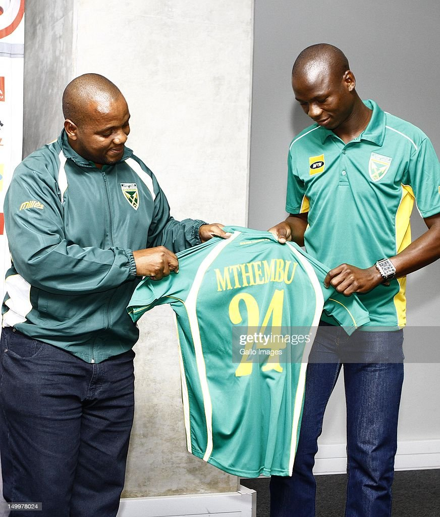 Ndabenhle Mthembu gets his jersey during the Golden Arrows press conference at Moses Mabhida Stadium on August 08, 2012 in Durban, South Africa.