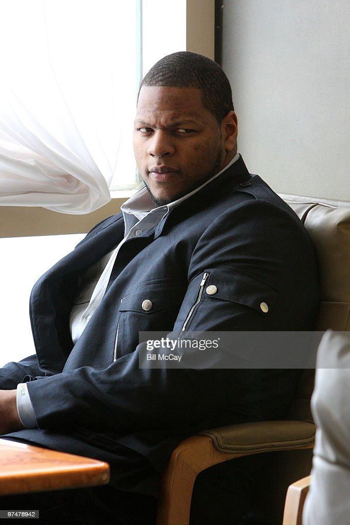 Ndamukong Suh from the University of Nebraska, winner of the Chuck Bednarik Award for College Defensive Player of the Year, attends the Press for the 73rd Maxwell Football Club Awards Banquet March 5, 2010 in Atlantic City, New Jersey