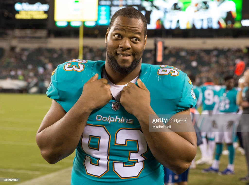 Ndamukong Suh #93 of the Miami Dolphins looks on in the fourth quarter against the Philadelphia Eagles in the preseason game at Lincoln Financial Field on August 24, 2017 in Philadelphia, Pennsylvania. The Eagles defeated the Dolphins 38-31.