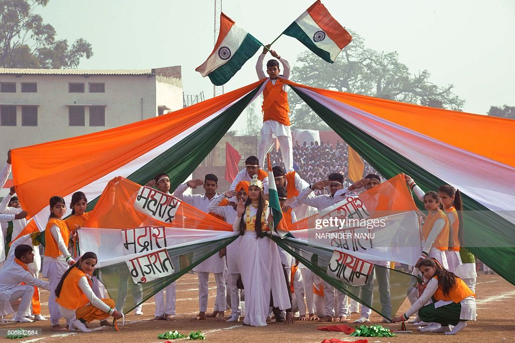 ndian school students perform during celebrations to mark the country's 67th Republic Day in Amritsar on January 26 2016 Celebrations are underway...