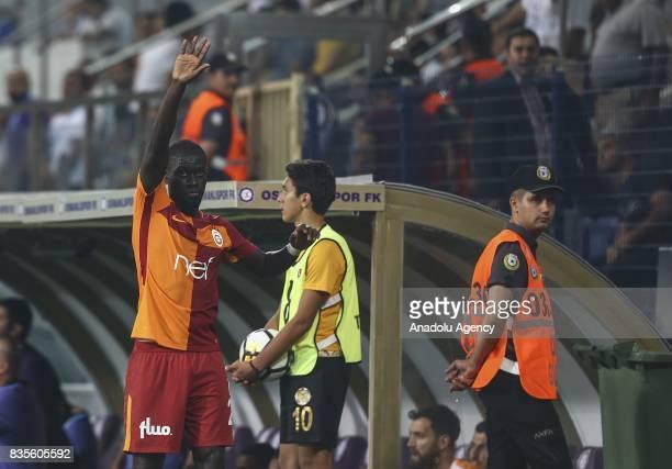 Ndiaye of Galatasaray greets supporters during Turkish Super Lig soccer match between Osmanlispor and Galatasaray at the Osmanli Stadium in Ankara...