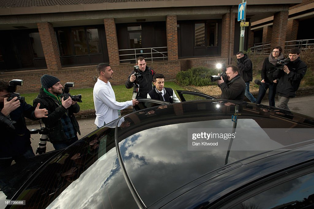N-Dubz singer Costadinos Contostavlos gets into a car as he leaves Guildford Crown court on February 15, 2013 in Guildford, England. N-Dubz singer, Costadinos Contostavlos aka Dappy was given a six month suspended sentence after being found guilty of two offences, including affray, following a nine-day trial last month.