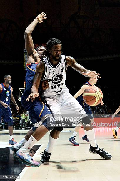 Ndudi Ebi of Granarolo competes with Trevor Mbakwe during the LegaBasket Serie A1 match between Granarolo Bologna and Acea Roma at Unipol Arena on...
