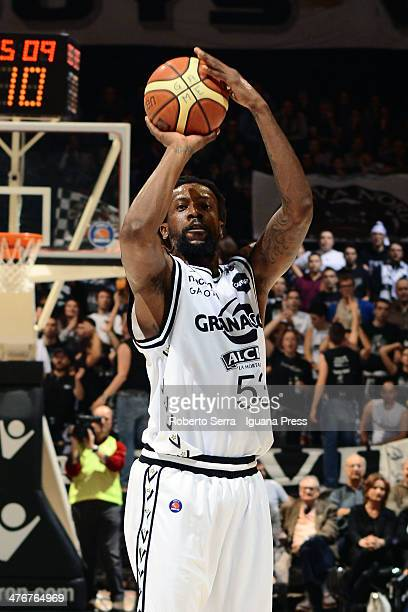 Ndudi Ebi of Granarolo in action during the LegaBasket Serie A1 match between Granarolo Bologna and Acea Roma at Unipol Arena on March 2 2014 in...