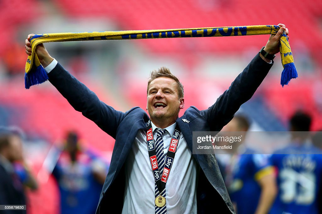 <a gi-track='captionPersonalityLinkClicked' href=/galleries/search?phrase=Neal+Ardley&family=editorial&specificpeople=2103824 ng-click='$event.stopPropagation()'>Neal Ardley</a>, manager of Wimbledon celebrates after their victory in the Sky Bet League Two Play Off Final match between Plymouth Argyle and AFC Wimbledon at Wembley Stadium on May 30, 2016 in London, England.