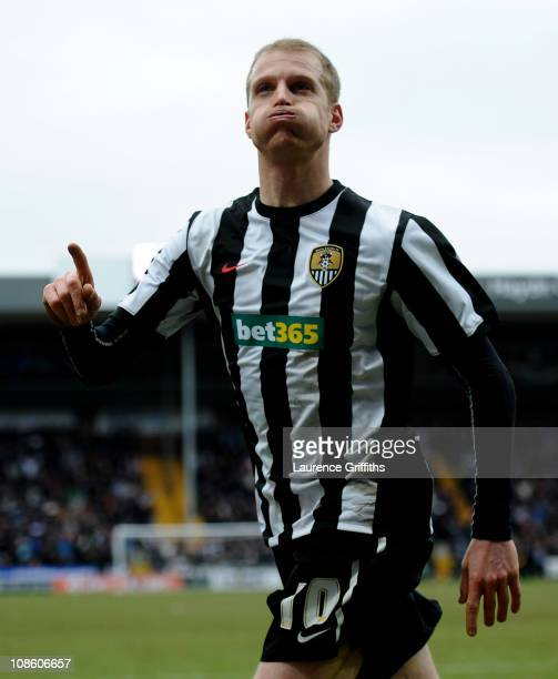 Neal Bishop of Notts County celebrates scoring the opening goal during the FA Cup sponsored by EOn 4th Round match between Notts County and...