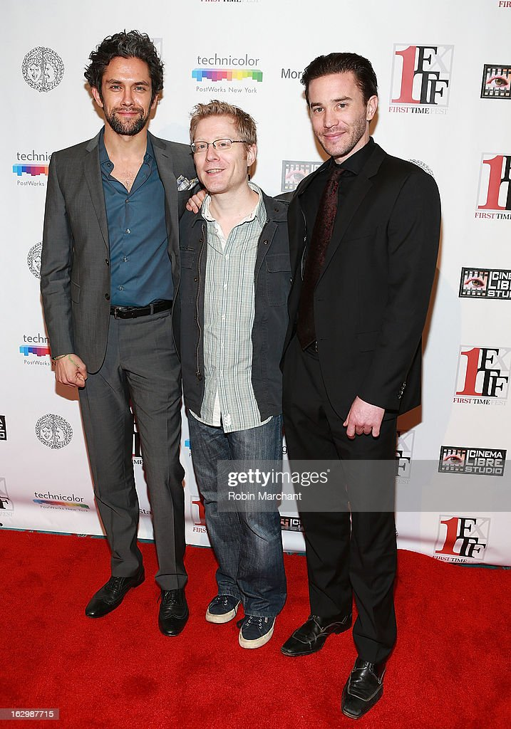 Neal Bledsoe, <a gi-track='captionPersonalityLinkClicked' href=/galleries/search?phrase=Anthony+Rapp&family=editorial&specificpeople=584008 ng-click='$event.stopPropagation()'>Anthony Rapp</a> and Tom Pelphrey attend 'Junction' during the 2013 First Time Fest at AMC Loews Village 7 on March 2, 2013 in New York City.