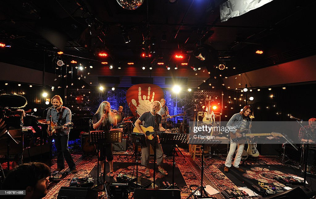 Neal Casal, Donna Jean Godchaux, Joe Russo, Bob Weir, Phil Lesh and Jason Roberts perform during the 'Move Me Brightly' 70th Birthday Tribute for Jerry Garcia at TRI Studios on August 3, 2012 in San Rafael, California.