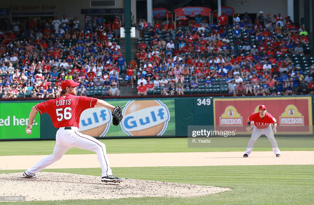 <a gi-track='captionPersonalityLinkClicked' href=/galleries/search?phrase=Neal+Cotts&family=editorial&specificpeople=213851 ng-click='$event.stopPropagation()'>Neal Cotts</a> #56 of the Texas Rangers pitches against the Kansas City Royals at Rangers Ballpark in Arlington on June 1, 2013 in Arlington, Texas.