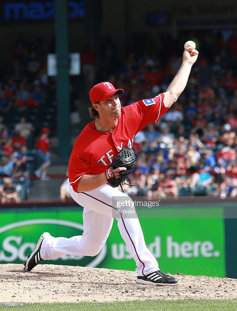 <a gi-track='captionPersonalityLinkClicked' href=/galleries/search?phrase=Neal+Cotts&family=editorial&specificpeople=213851 ng-click='$event.stopPropagation()'>Neal Cotts</a> #56 of the Texas Rangers pitches in the seventh inning against the Kansas City Royals at Rangers Ballpark in Arlington on June 1, 2013 in Arlington, Texas.