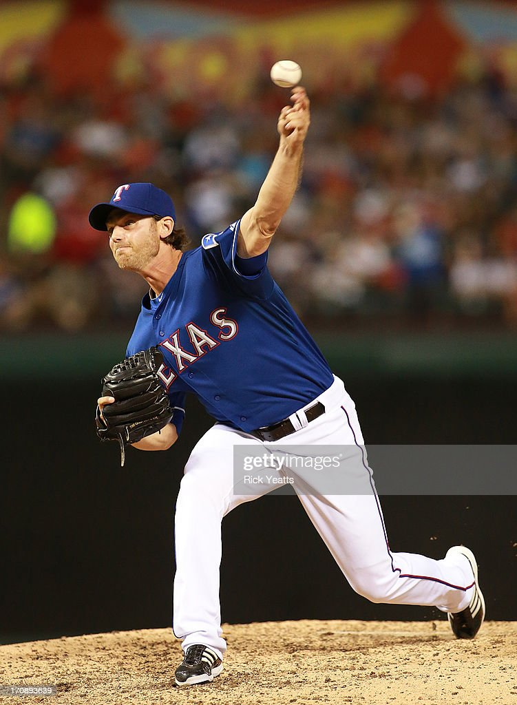 <a gi-track='captionPersonalityLinkClicked' href=/galleries/search?phrase=Neal+Cotts&family=editorial&specificpeople=213851 ng-click='$event.stopPropagation()'>Neal Cotts</a> #56 of the Texas Rangers pitches in the sixth inning against the Oakland Athletics at Rangers Ballpark in Arlington on June 19, 2013 in Arlington, Texas.