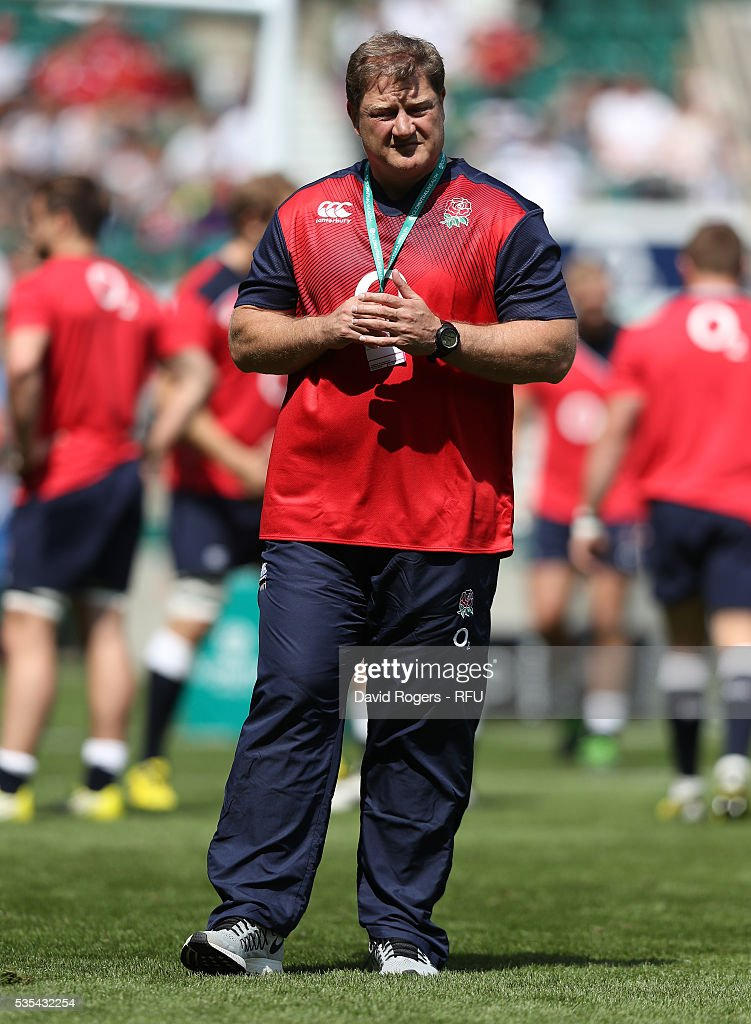 Neal Hatley, the England scrum coach looks on during the England v Wales International match at Twickenham Stadium on May 29, 2016 in London, England.