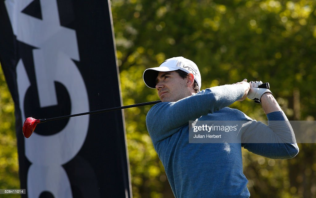 Neal Humphries of InPlay Golf plays his first shot on the 1st tee during the PGA Professional Championship - West Qualifier at Burnham And Berrow Golf Club Club on May 5, 2016, in Burnham-On-Sea, England.
