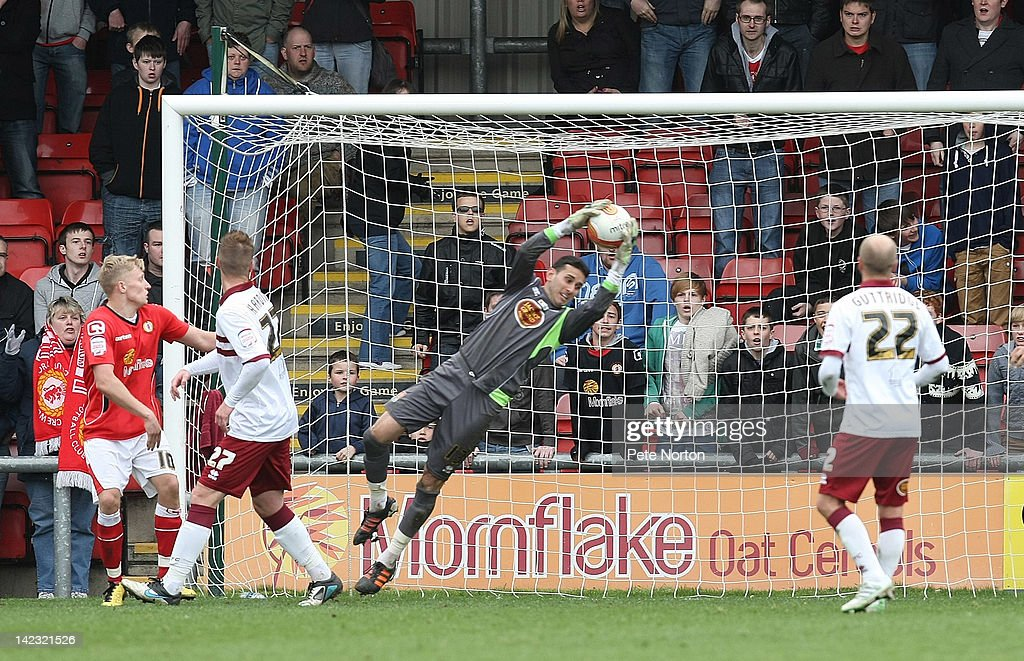 Neal Kitson of Northampton Town makes a save during the npower League Two match between Crewe Alexandra and Northampton Town at The Alexandra Stadium on March 31, 2012 in Crewe, England.