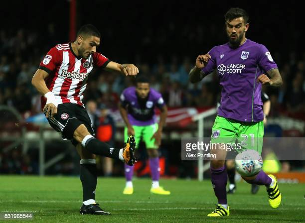 Neal Maupay of Brentford scores his sides second goal during the Sky Bet Championship match between Brentford and Bristol City at Griffin Park on...