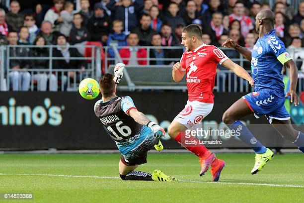 Neal Maupay of Brest and Alexandre Oukidja of Strasbourg during the Ligue 2 match between Stade Brestois 29 and RC Strasbourg Alsace on October 15...