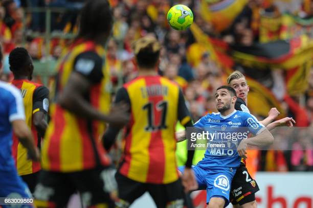 Neal Maupay of Brest and Benjamin Bourigeaud of Lens during the French Ligue 2 match between Lens and Brest at Stade Felix Bollaert on April 1 2017...