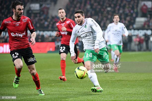 Neal Maupay of Saint Etienne Christophe Kerbrat of Guingamp during the French Ligue 1 match between EA Guingamp and AS SaintEtienne on March 12 2016...