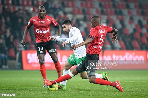 Neal Maupay of Saint Etienne during the French Ligue 1 match between EA Guingamp and AS SaintEtienne on March 12 2016 in Guingamp France