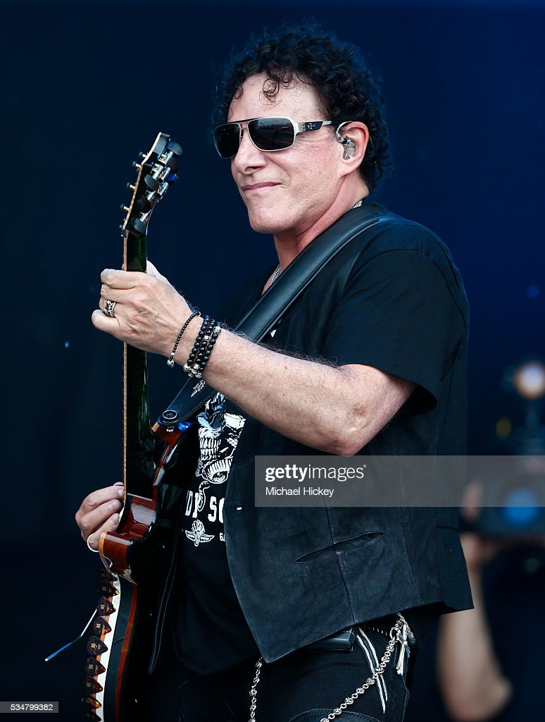 <a gi-track='captionPersonalityLinkClicked' href=/galleries/search?phrase=Neal+Schon&family=editorial&specificpeople=595042 ng-click='$event.stopPropagation()'>Neal Schon</a> And Vortex Perform at the Indianapolis Motor Speedway on May 27, 2016 in Indianapolis, Indiana.