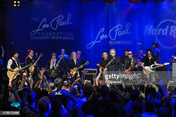 Neal Schon Joe Bonamassa Johnny A Warren Haynes G E Smith Steve Miller Joe Satriani and Steve Vai perform onstage during Les Paul's 100th Anniversary...